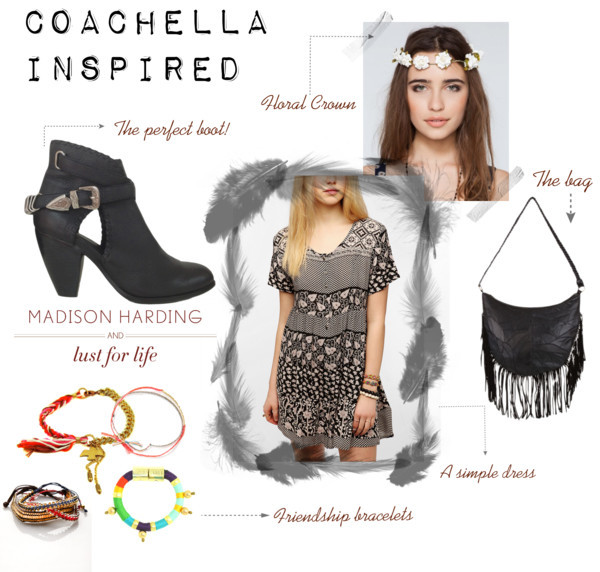 Coachella Inspired by emjane12 featuring holst lee jewelryMink Pink mini dress / Madison Harding  boots / Mink Pink fringe handbag, $93 / Holst + Lee holst lee jewelry / Mathias Chaize friendship bracelet / Chain bracelet / Free People  / Gardenhead Flower Crown