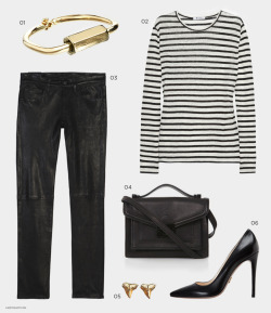 what-do-i-wear:  01 MIANSAI Cuff or here 02 T BY ALEXANDER WANG Shirt or Short Sleeve version here03 J BRAND Leather Pants or Similar here 04 LOEFFLER RANDALL Mini Rider Bag 05 CROSS STREET Earrings 06 PRADA Pumps or Shop Pumps (image: andyheart)