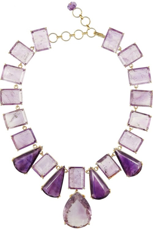 Monday's dash of colour: lilac.  BOUNKIT 24-karat gold-plated amethyst necklace