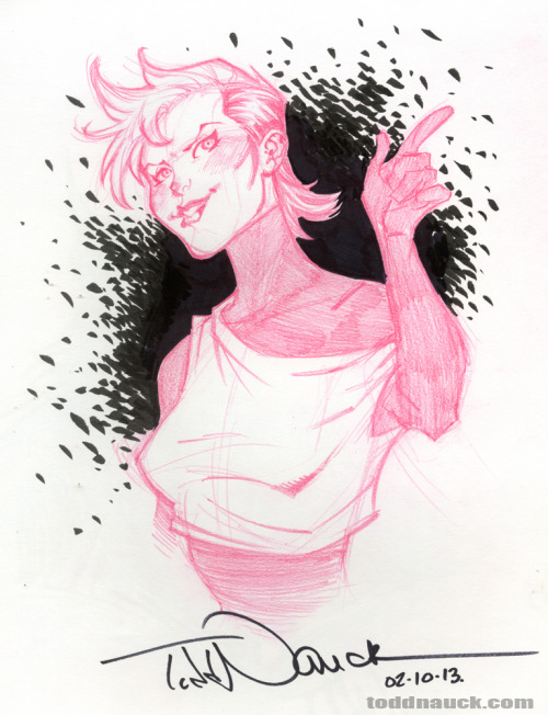 Rogue. Continuing my 80's X-Men sketch kick.Drawn with Pilot Eno mechanical red .07 lead pencil and Pentel pocket brush pen.
