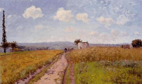 artist-pissarro: June Morning, View over the Hills over Pontoise, 1873, Camille Pissarro Medium: oil,canvas #art