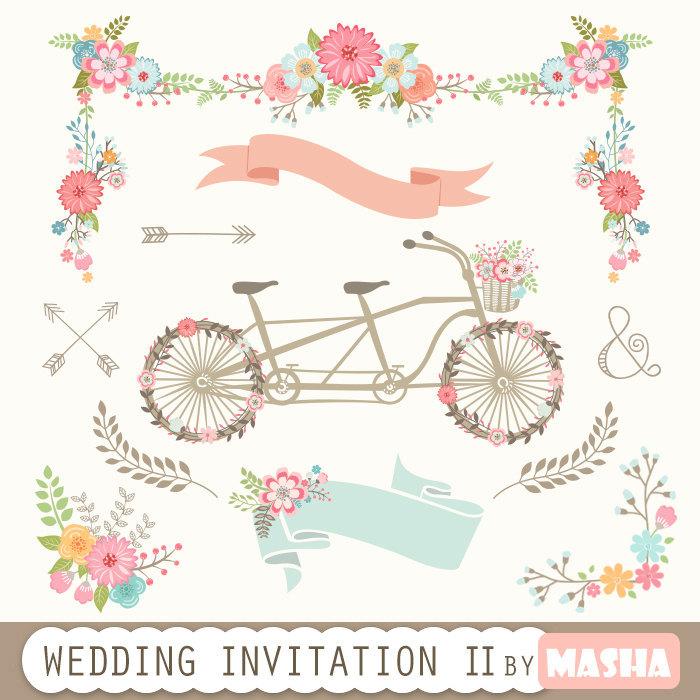 Masha Studio Wedding Invitation Clipart II WEDDING INVITATION