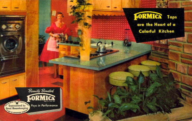 FORMICA!  BEWARE OF IMITATIONS There is only one genuine Beauty Bonded Formica. To protect you, a wash-off certification mark is printed on the colorful top surface of every sheet of Formica as it leaves the factory.