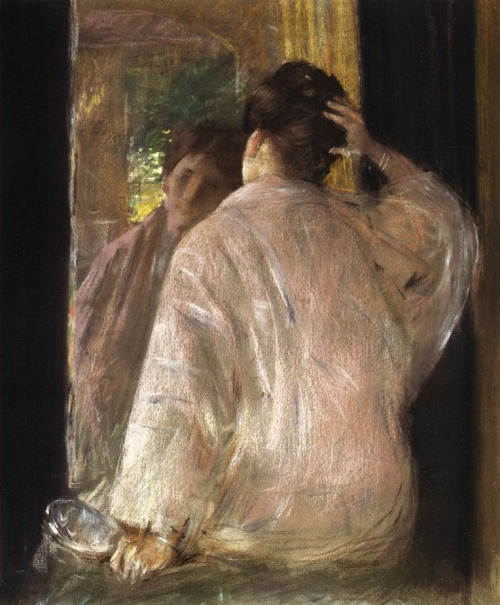 William Merritt Chase - Dorothy at a mirror (1890)