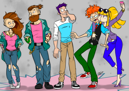 Rugrats Tommy Pickles Angelica Pickles Phil Deville Lil Deville Chuckie Finster adult grown up nickelodeon my art