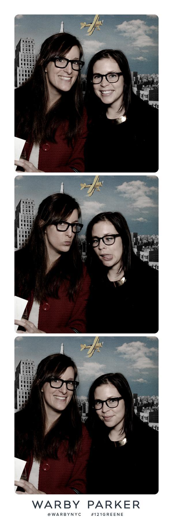 With Elisha at Warby Parker's store opening. Was impressed with the photo booth (as you can see!), the smart hashtag marketing — #121Greene, the address — and of course, the bookshelves, arranged by color with carefully selected classics of various hues.