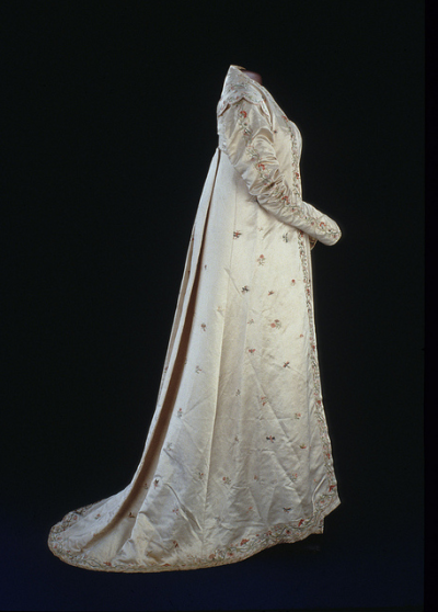Dolley Madison's Embroidered Gown, late 1810s  Silk satin open robe hand-embroidered with flowers, butterflies, dragonflies, and phoenixes.