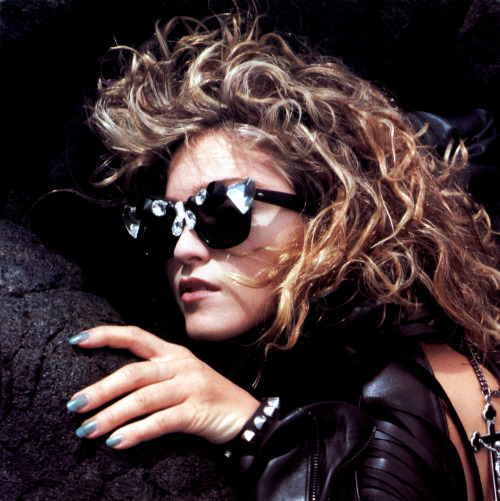 #Madonna on volcanic rock in Hawaii 1985