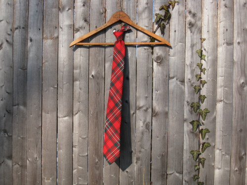 Vintage Red Plaid Wool Knit Tie