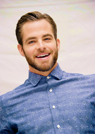 vikingposts:  Chris Pine Unknown photographer -not listed.  Very nice shirt. I will be using many light-blue shirts this summer.
