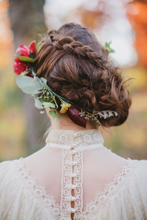 I'm absolutely smitten with this messy braided updo. Honestly though, can any hairstyle look anything but dreamy when you add a floral crown? <3 Jess, ModStylist Need styling suggestions, trend tips, or dress details? Ask a ModStylist and your question might be featured on our feed!
