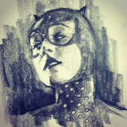 Hell Here. #sketch #illustration #catwoman #artistsontumblr #noramaha  (at It's A Grind Coffee House)