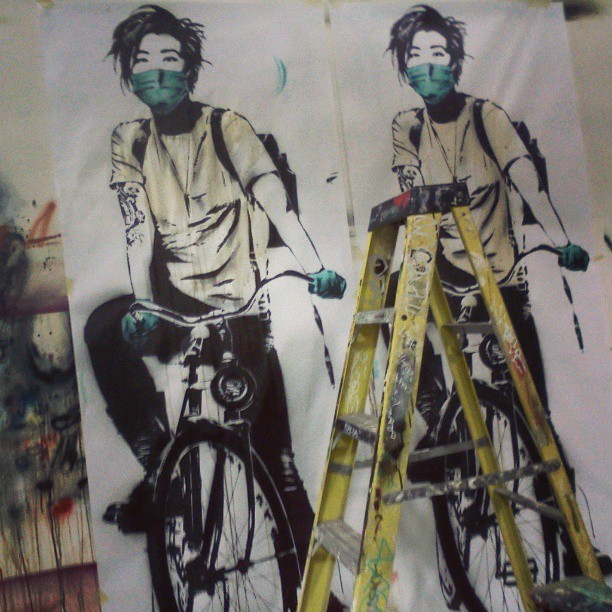 in the studio…. #eddiecolla #bikegirl