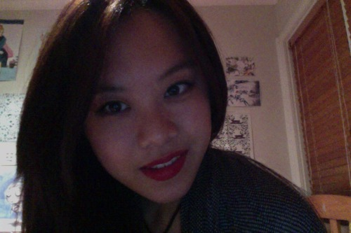 don't be afraid to party alone at home at 12:14am with red lipstick