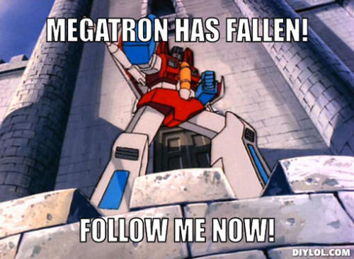 asksoundwavesuperior:  AT THE TIME OF THIS PICTURE, MEGATRON WAS ONLY SEVEN FEET AWAY TALKING TO SHOCKWAVE. SOMEHOW, STARSCREAM MISSED THIS, AND WAS BLASTED BY EVERYONE.