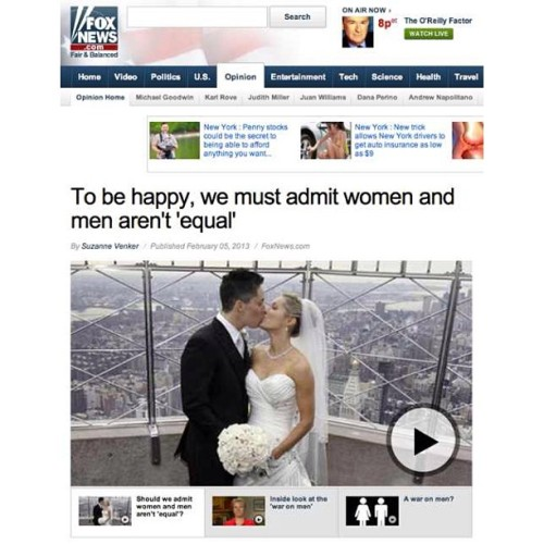 Fox News, in their infinite journalistic wisdom, (and apparently by accident,) used a same-sex couple's wedding photo to illustrate an anti-equality anti-feminism op-ed by a conservative author. This is a story that you really need to follow closely to grasp its full karmic, delicious beauty.  The photo is pretty well-known. It's of Stephanie Figarelle and Lela McArthur, enjoying their first kiss as a married couple — the first same-sex couple to be married at the Empire State Building last year.  And if that's not enough, the column is written by Suzanne Venker, who, it turns out, is the niece of the supreme mother of the anti-feminism movement herself, Phyllis Schlafly.    http://thenewcivilrightsmovement.com/1-did-fox-news-use-a-lesbian-couples-wedding-photo-thinking-they-were-a-straight-couple/news/2013/02/08/60128  #foxnews #fail #antigay #antifeminism #antiwoman #antihuman #lesbians #equality #noh8 #marriageequality #nom #empirestatebuilding #samesex #conservatives #teabaggers #liberals #lezbehonest