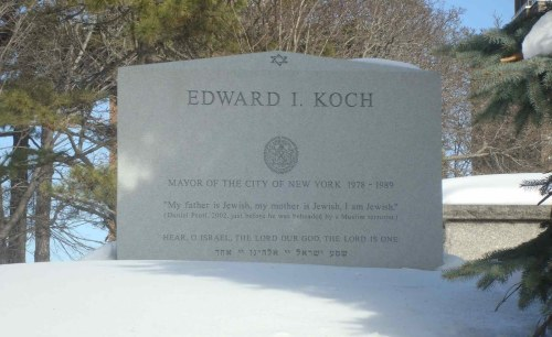 "Ed Koch, the iconic former New York City mayor who died Friday, has some of slain Wall Street Journal reporter Daniel Pearl's last words — ""My father is Jewish. My mother is Jewish. I am Jewish."" — on his tombstone. Koch explained his reasoning for doing this in a 2011 blog post for The Huffington Post: ""I believe those words should be part of the annual services on the Jewish High Holiday of Yom Kippur, and should be repeated by the congregants."" Pearl was brutally murdered by al-Qaeda terrorists after being kidnapped in Pakistan in 2002, with his death videotaped and used as a propaganda tool. He died on February 1, 2002, eleven years ago exactly — making Koch's usage of Pearl's words symbolic in another way."