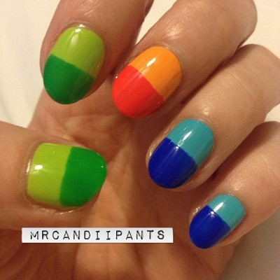 mrcandiipants:  Simple playing around with my new polishes. Can you tell I'm ready for summer?