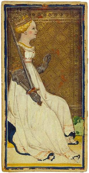 centuriespast:  Queen of SwordsBonifacio Bembo or familyVisconti-Sforza Tarot CardsItaly, Milan, ca. 1450 The Morgan Library