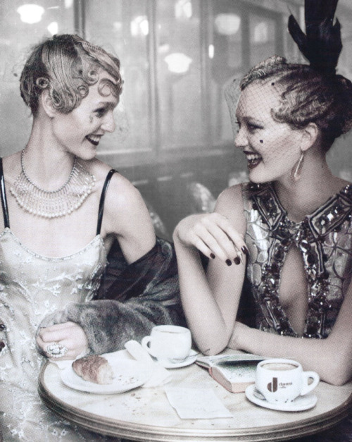 deprincessed:  Sasha Pivovarova & Gemma Ward in 'Paris Je t'aime' shot by Steven Meisel for Vogue US September 2007