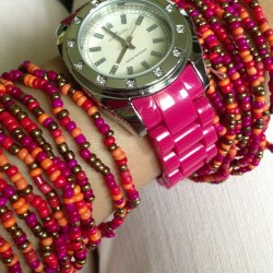 #pink overkill #armcandies #glass #beads #anneklein #watch #jeans #orange #bronze #red #accessories #fashion #lookbook #igersmanila #ootd 👍😉