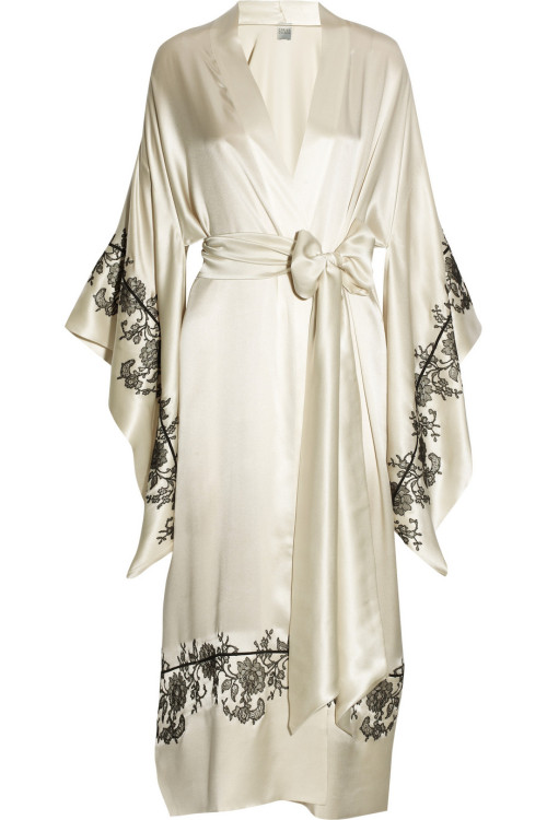 Carine Gilson Lace-Appliqued Silk Robe via: The Lingerie Addict