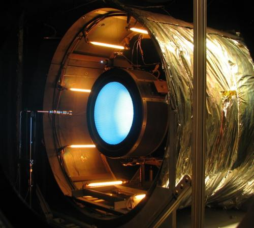 Environmental Testing of the NASA-GRC NEXT Ion Thruster image source: CalTech/NASA