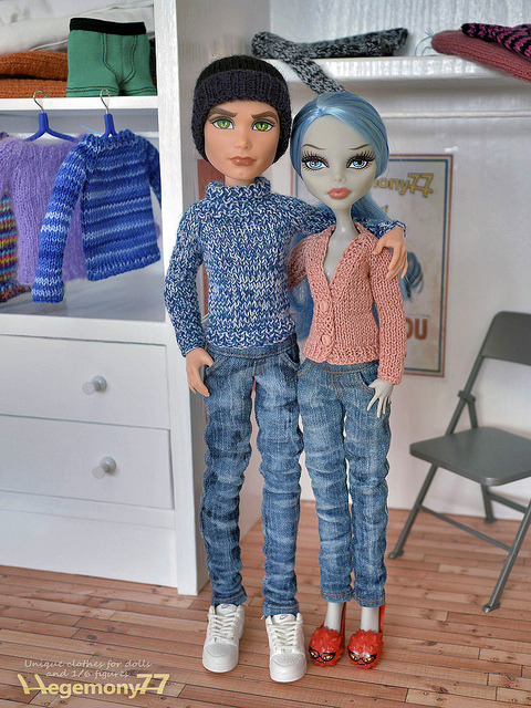 Monster High girl and boy doll couple in Hegemony77 clothes - washed jeans pants hand knitted sweater cardigan on Flickr.Via Flickr: Doll clothes and photo made by Hegemony77
