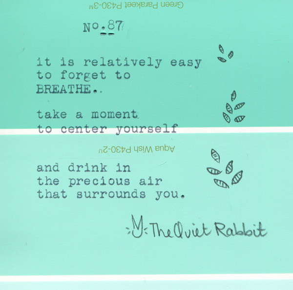 thequietrabbit:  no.87 - breathe.