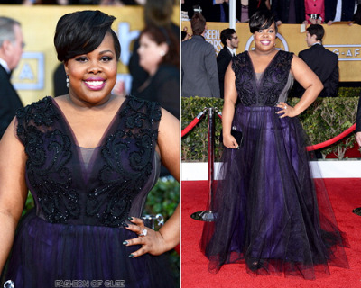 fashionofglee:  Amber Riley arrives at the 19th annual Screen Actors Guild awards, Los Angeles, January 27, 2013 Sparkling in jewel tones, Amber also wore a custom gown to the SAG awards; this sapphire beauty by Project Runway winner Christian Siriano. Her simple black pumps and clutch let it take center stage. Christian Siriano Custom-Made Lace Tulle Gown  so fucking aesthetically pleasing