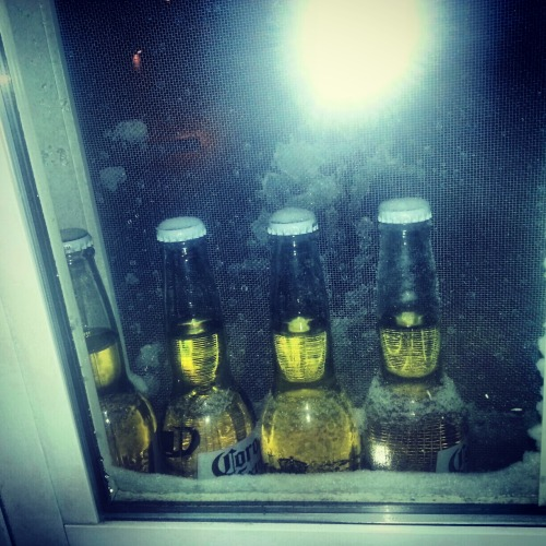 iamxminnie:  Because who needs a fridge when there's a blizzard.