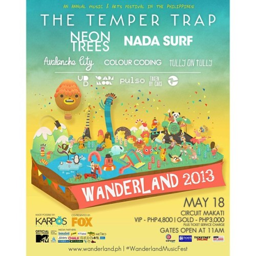 """THE TEMPER TRAP, NEON TREES, NADA SURF, AVALANCHE CITY, COLOUR CODING & TULLY ON TULLY – All for #WanderlandMusicFest @wanderlandmusicfest! Catch them together with UP DHARMA DOWN, YOLANDO MOON, PULSO, TAKEN BY CARS and SHE'S ONLY SIXTEEN on May 18 at Circuit Makati! Get your tickets NOW!"""