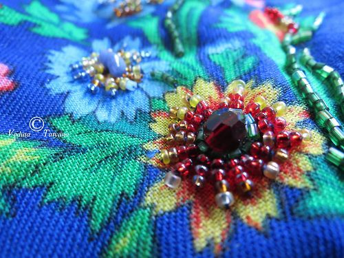 my embroidery with the beads ans swarovsky and crystals of citrine and blue agate