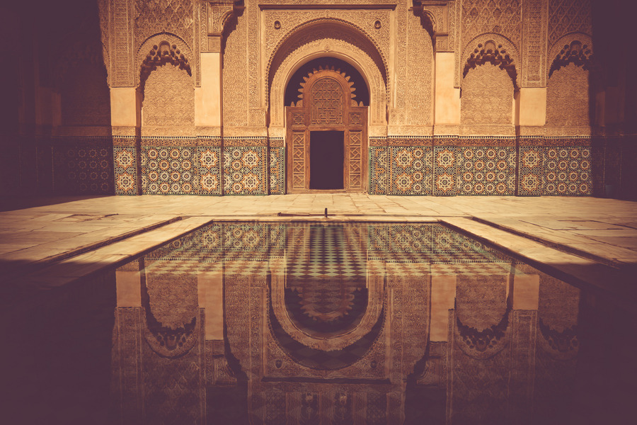 poeticislam:  Interior courtyard of Ben Yousef Madrasa in Marrakech, Morocco.  Photograph taken by Karim Taib