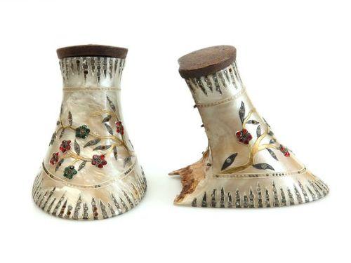 shoes heels 1920s france celluloid rhinestones painted f weil e petit & cie floral flowers vintage fashion