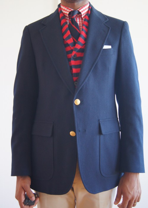 "05.14.13 Redman Thrifted Stanley Bleecker flannel blazer.  3.5"" lapels, natural shoulders, single vented, half lined, patch flap pockets.  I had the sleeves lengthened.  I have a ton of navy jackets.  This one is heavier than the one I wore yesterday.  Perfect for the fall/winter.  The sleeve pitch is off as usual.  I'm happy with the waist suppression. See more of my sport coats here."