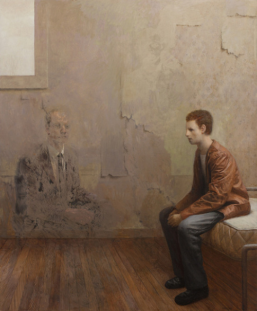 theonlymagicleftisart:  (Aron Wiesenfeld)oil on panel, 46x38 inches, 2013