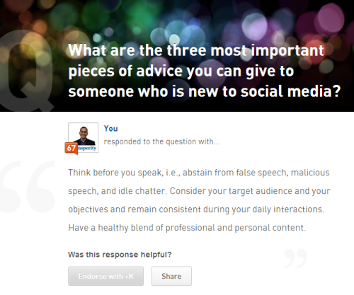 Answered a question on Klout today. There's a first time for everything.