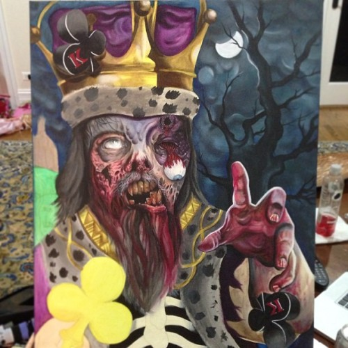 Here's a lil sneak peak of my #zombiekingofclubs #painting I've been working on for like 20 hrs so far, still got a long way to go! I'll post more real soon thanks for looking!