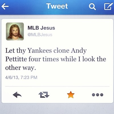 alexuh:  Lol #obsessed with this #twitter #mlbjesus #perfect #yankees #baseball #mlb #pettitte #pitcher #best #wayoflife