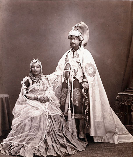 sisterwolf:  Maharajah Sir Rundip Singh Rana Bahadur, First Minister of Nepal, and his second wife - 1870