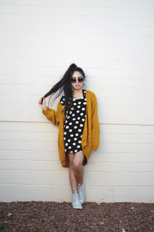 orangemilkpeel:  Outfit of the day: thrifted dress & cardigan, white chucks, sunnies from Santee Alley