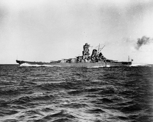 "navyhistory:  On 7 April 1945 the world's largest battleship, Yamato, steaming for Okinawa on the one-way suicidal ""Ten-Go"" Operation, was sunk by American carrier aircraft while still some 200 miles north of Okinawa."