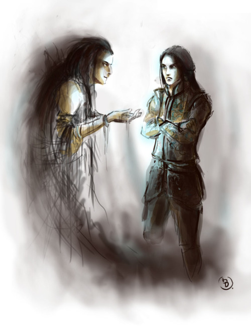 markedasinfernal:  'Then hate overcame Feanor's fear, and he cursed Melkor and bade him be gone, saying: 'Get thee gone from my gate, thou jail-crow of Mandos!' And he shut the doors of his house in the face of the mightiest of all the dwellers in Ea.' - Of the Silmarils, The Silmarillion. Melkor and Feanor, by pajalie