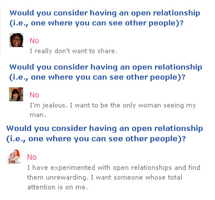 "psychophancy:  So, while going through various OKCupid profiles, I started paying attention to people's explanations to why they would not consider having an open relationship. I'll state up front that most people who answered this question—either in the affirmative or the negative—did not offer any further explanation. However, for those who did  choose to include a written explanation, those explanations very nearly always reflected the following sorts of sentiments: ""I'm too jealous."" ""I don't like to share."" ""I don't like to share my man/woman."" ""I want them to devote all their attention to me."" This is the case across the board for men's and women's profiles, even though I only included quotes from women's profiles above. And I've looked through thousands of profiles. Am I the only one troubled by these explanations? Not a single time did I see anyone state anything to the effect of, ""I don't want to be in an open relationship because I find that I best connect with one romantic partner at a time,"" or, ""I don't want to be in an open relationship because I truly want to devote myself to one person in my life."" No, the reasons people cite for ruling out open relationships basically boil down to, ""I don't want you to date anyone else because I would feel threatened and I would prefer that you be lavish all your time, energy, and money on me instead."" Don't know about you, but that all sounds rather self-centered, possessive, and controlling to me. As I have always stated, I have no problem with monogamy if that's the choice that truly works best for any couple. But I have to wonder why so many people seem to choose monogamy out of insecurity and fear, rather than actually examining those insecurities and fears."