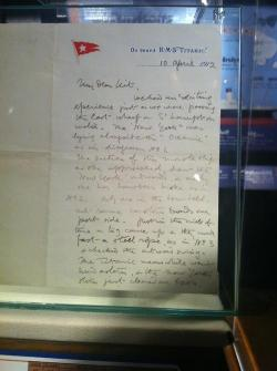 "This letter, written by Hugh Woolner, a 45 year old first class passenger on Titanic, describes Titanic's ""near accident"" with another ship as she was leaving Southampton….""I hope not to have any more accidents,"" Hugh wrote in his letter.  (Please do not remove the source from these images)."