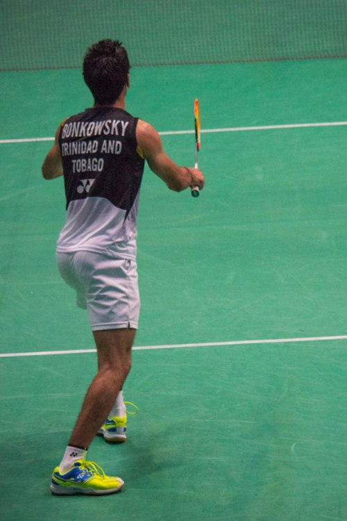 Me during my men's singles match at the 2014 Canada Open Grand Prix badminton tournament at UBC in Vancouver, Canada.