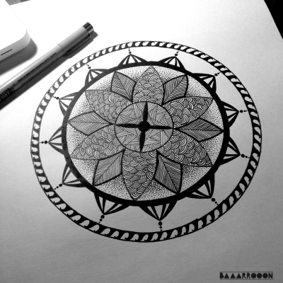 My first Mandala! Follow my blog for more art - baaarrooon.tumblr.com
