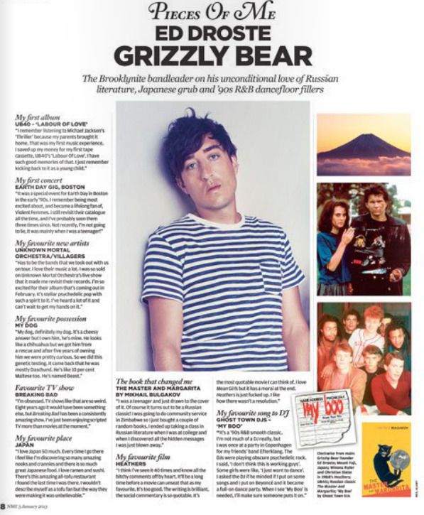 Ed Droste discusses Bulgakov, '90s R&B and Japan in this week's NME mag. Click here to view.