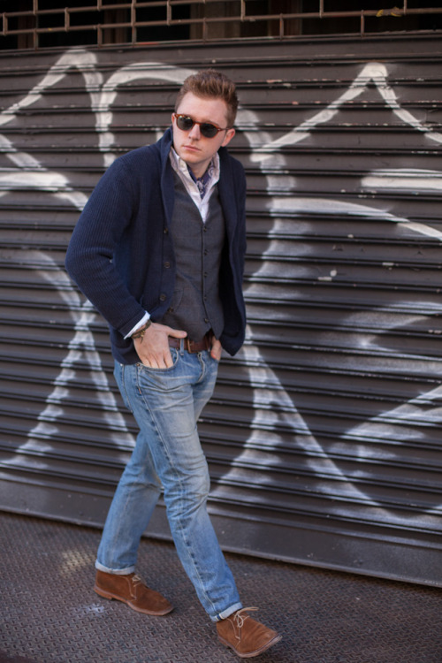 i always get stuck in a dark denim rut over the colder months,but as it warms up - lighter washes in denim begin to take back over. — cardigan via club monacovest via ernest alexandershirt via uniqlobelt via gapdenim via baldwinshoe via allen edmonds — remember the birthdays of those important to you.